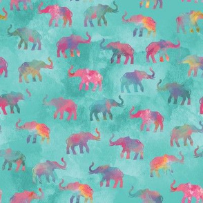 Elephants On Parade in Watercolor Teal