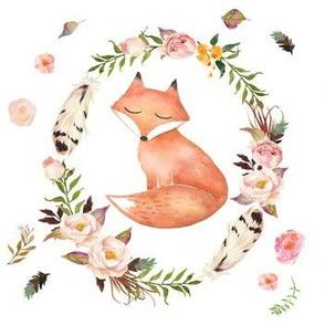 Sleepy Fox in Floral Wreath