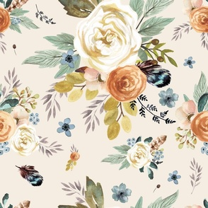 """18""""  Western Autumn / More Florals /Ivory"""