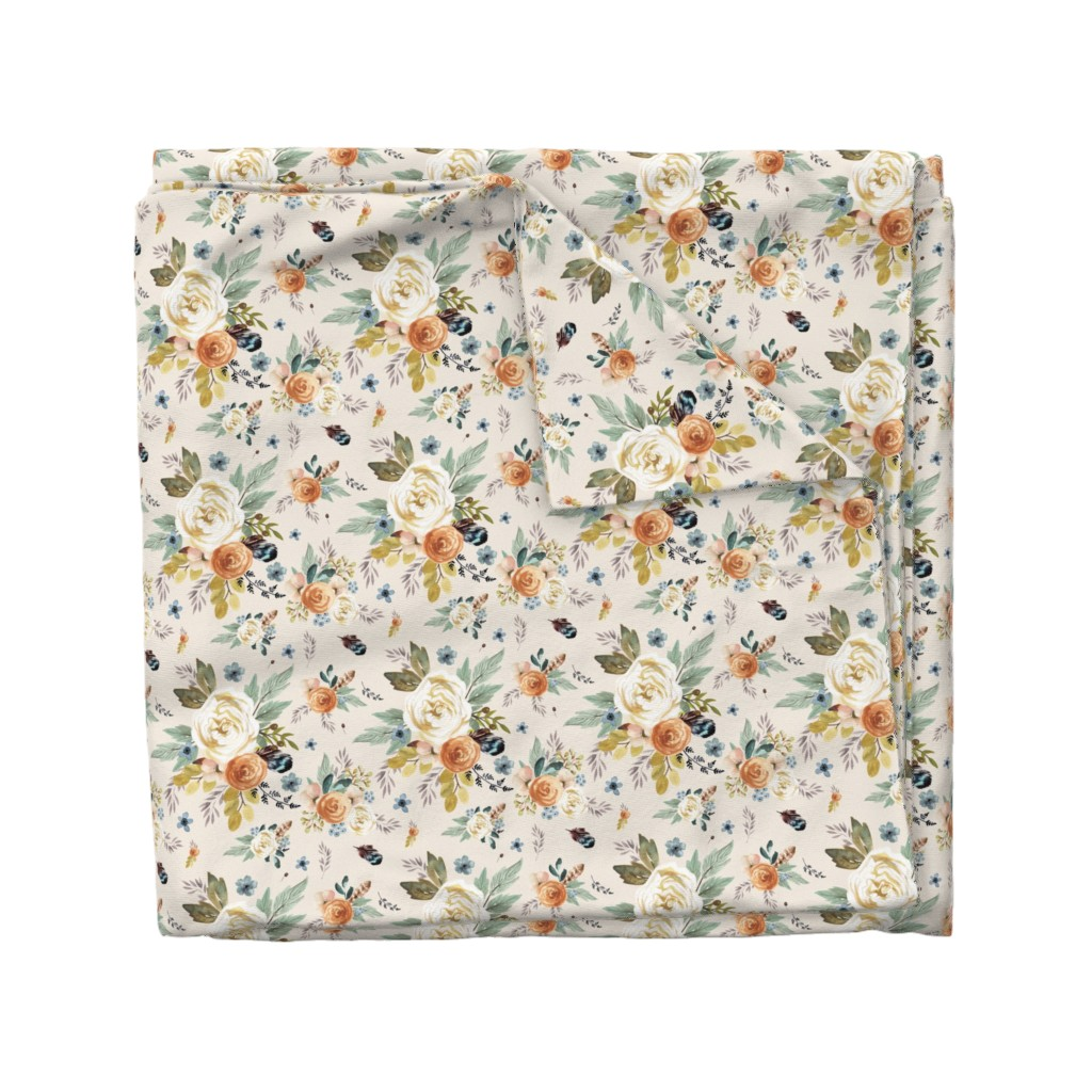"Wyandotte Duvet Cover featuring 8"" Western Autumn / More Florals / Ivory by shopcabin"