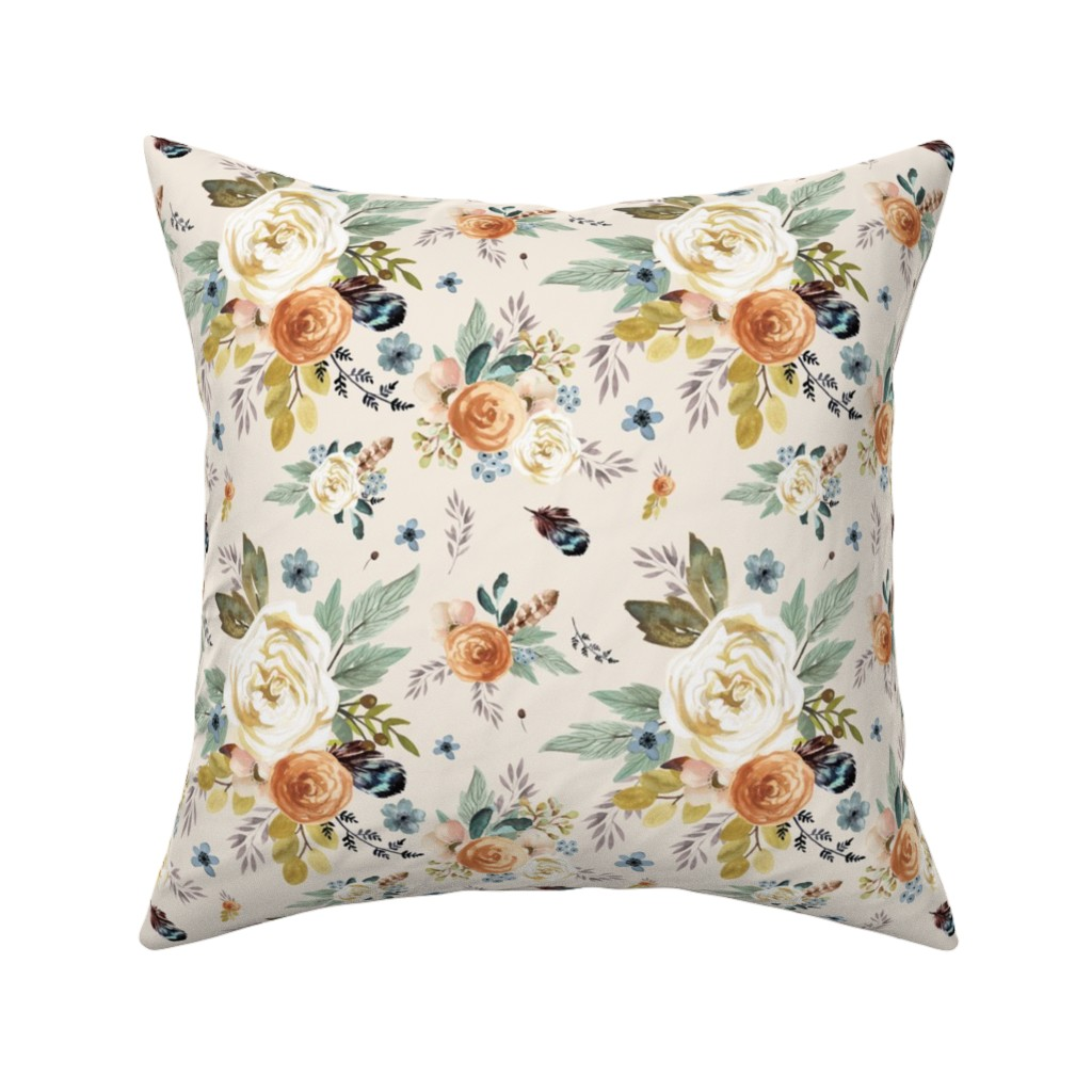 """Catalan Throw Pillow featuring 8"""" Western Autumn / More Florals / Ivory by shopcabin"""