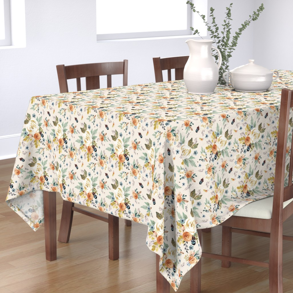"""Bantam Rectangular Tablecloth featuring 8"""" Western Autumn / More Florals / Ivory by shopcabin"""