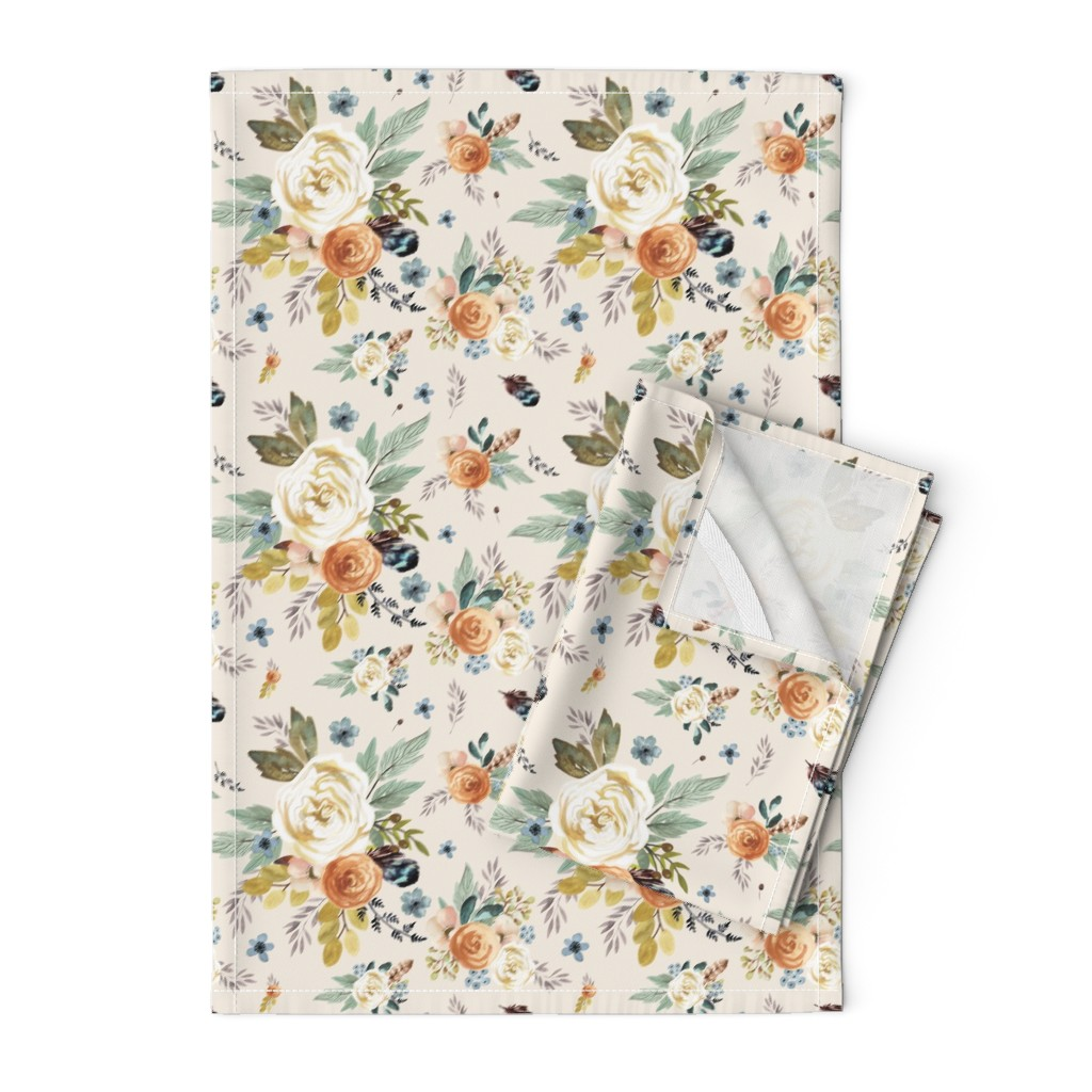 "Orpington Tea Towels featuring 8"" Western Autumn / More Florals / Ivory by shopcabin"