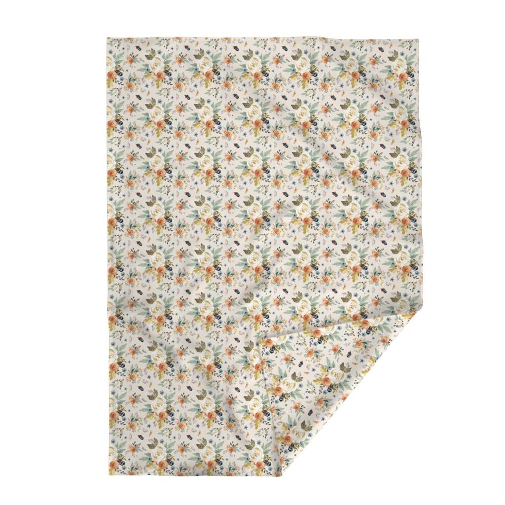 "Lakenvelder Throw Blanket featuring 8"" Western Autumn / More Florals / Ivory by shopcabin"