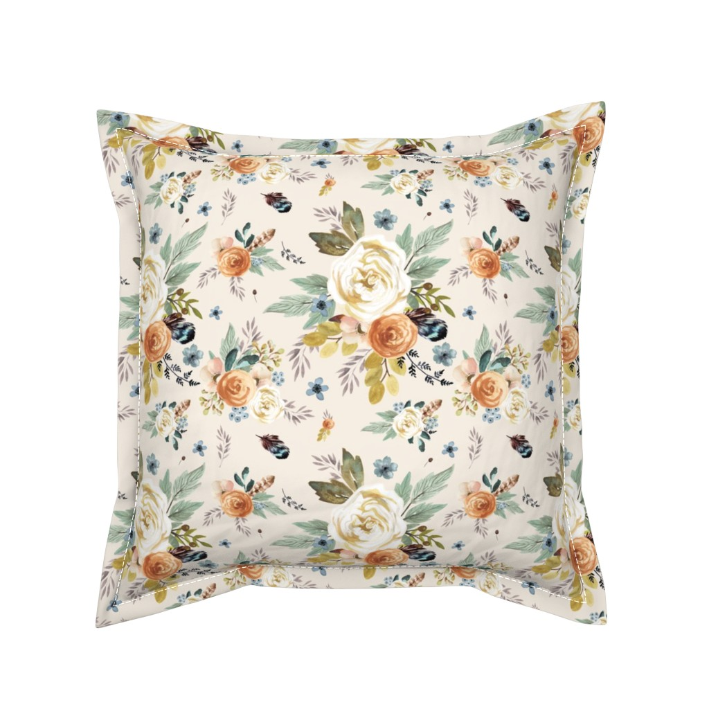 """Serama Throw Pillow featuring 8"""" Western Autumn / More Florals / Ivory by shopcabin"""