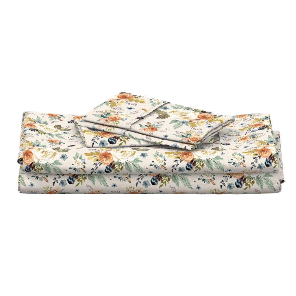 """Langshan Full Bed Set featuring 8"""" Western Autumn / More Florals / Ivory by shopcabin"""