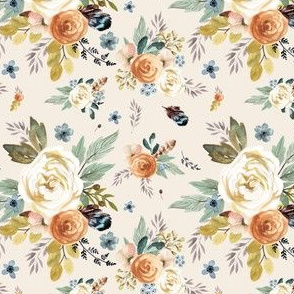 """4"""" Western Autumn / More Florals / Ivory"""