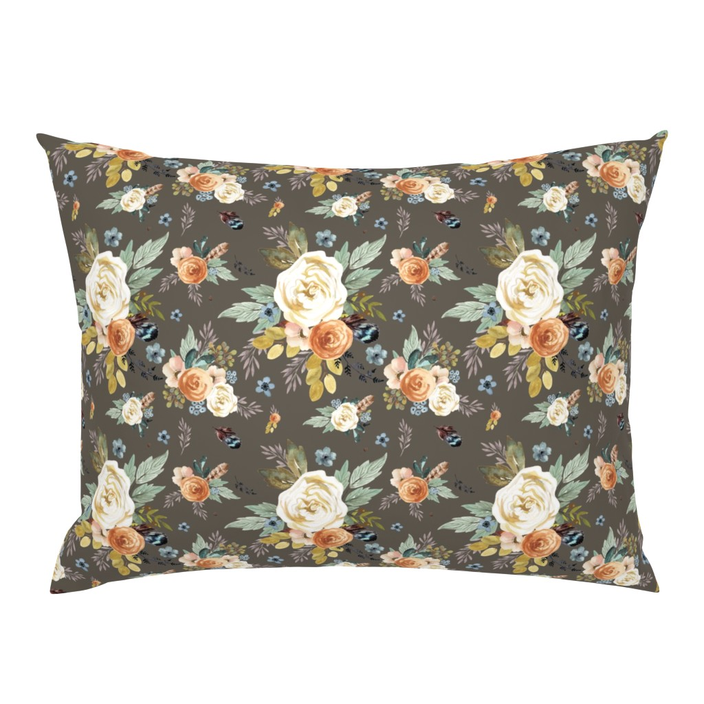 """Campine Pillow Sham featuring 8"""" Western Autumn / More Florals / Taupe by shopcabin"""