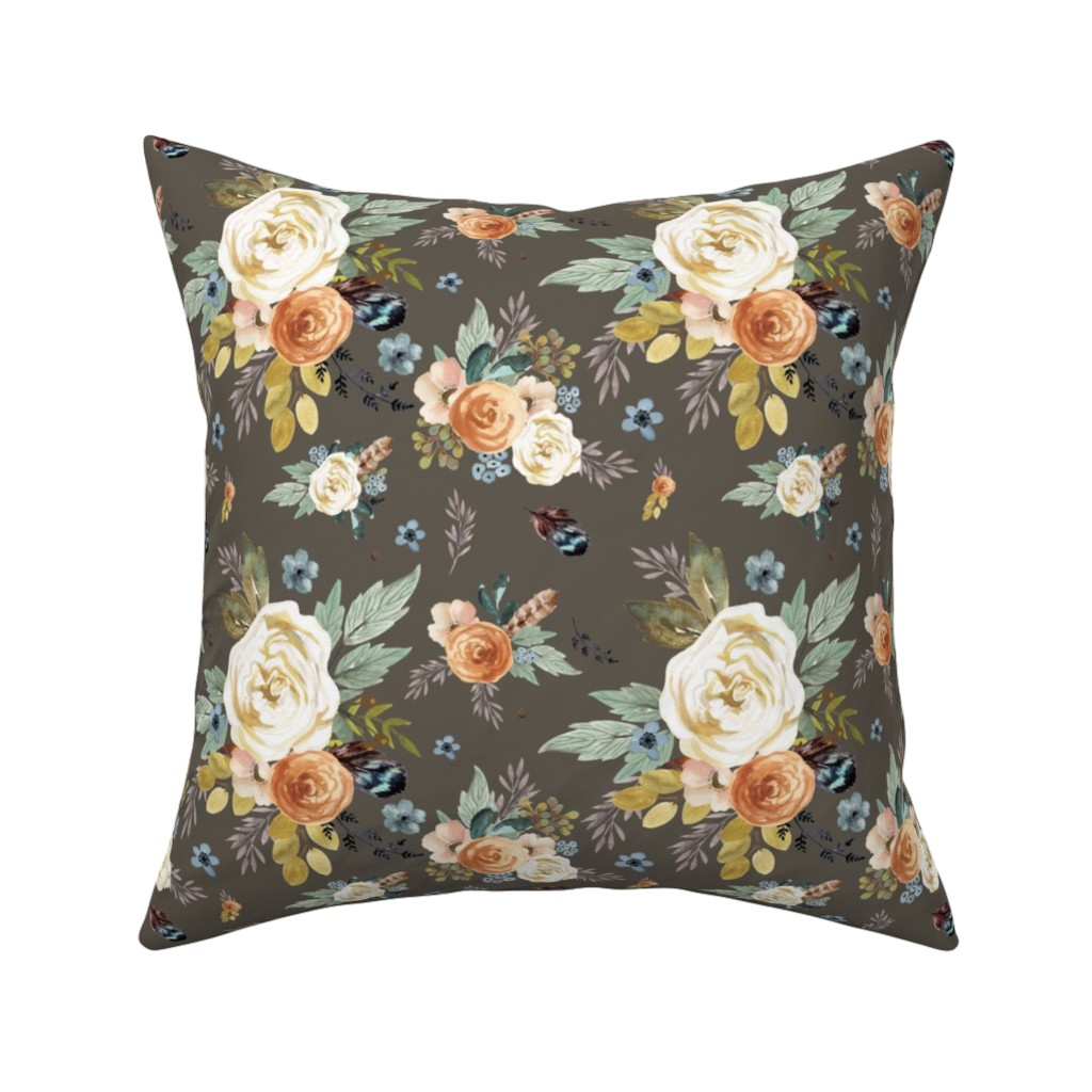 "Catalan Throw Pillow featuring 8"" Western Autumn / More Florals / Taupe by shopcabin"