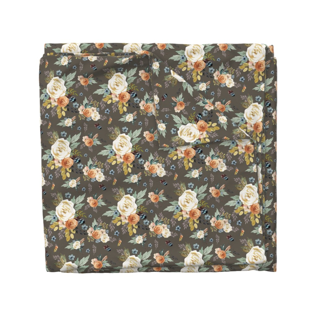 """Wyandotte Duvet Cover featuring 8"""" Western Autumn / More Florals / Taupe by shopcabin"""