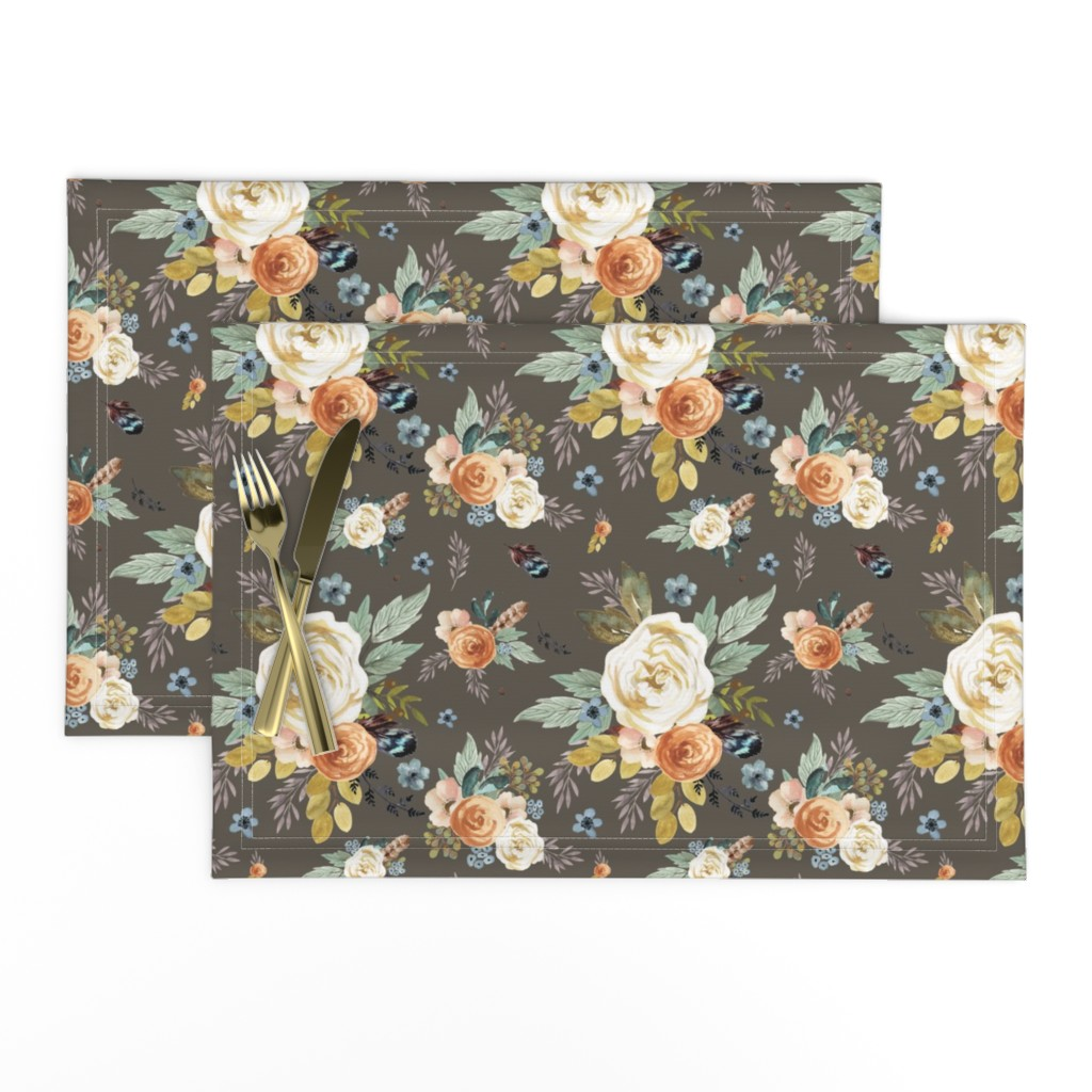 """Lamona Cloth Placemats featuring 8"""" Western Autumn / More Florals / Taupe by shopcabin"""