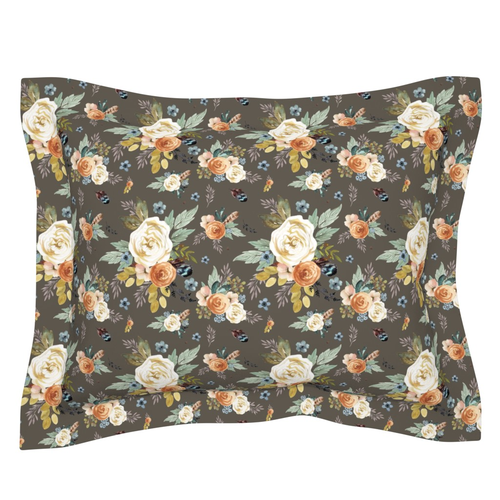 """Sebright Pillow Sham featuring 8"""" Western Autumn / More Florals / Taupe by shopcabin"""