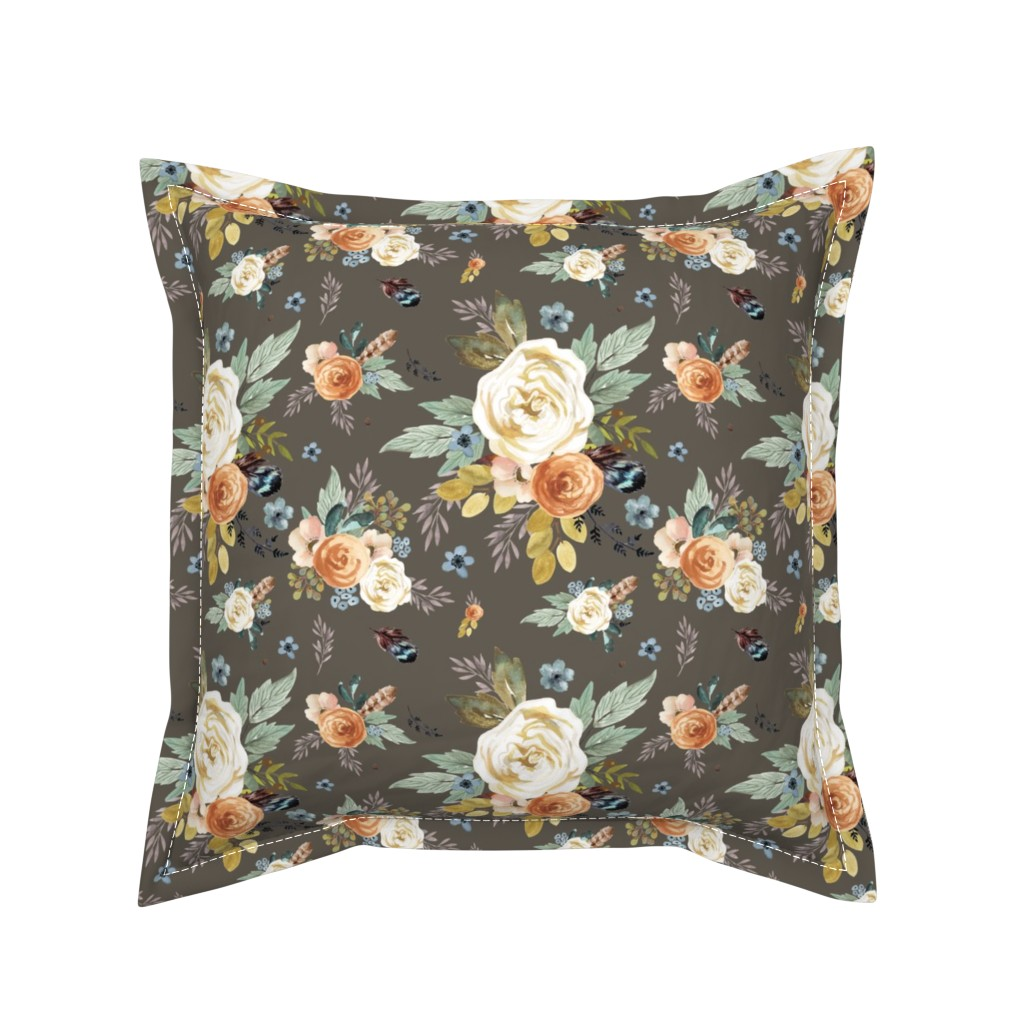 "Serama Throw Pillow featuring 8"" Western Autumn / More Florals / Taupe by shopcabin"