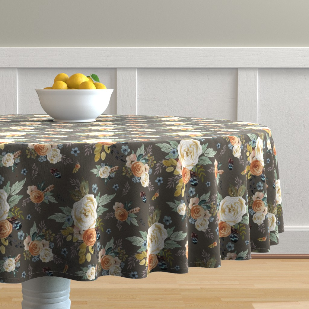 "Malay Round Tablecloth featuring 8"" Western Autumn / More Florals / Taupe by shopcabin"