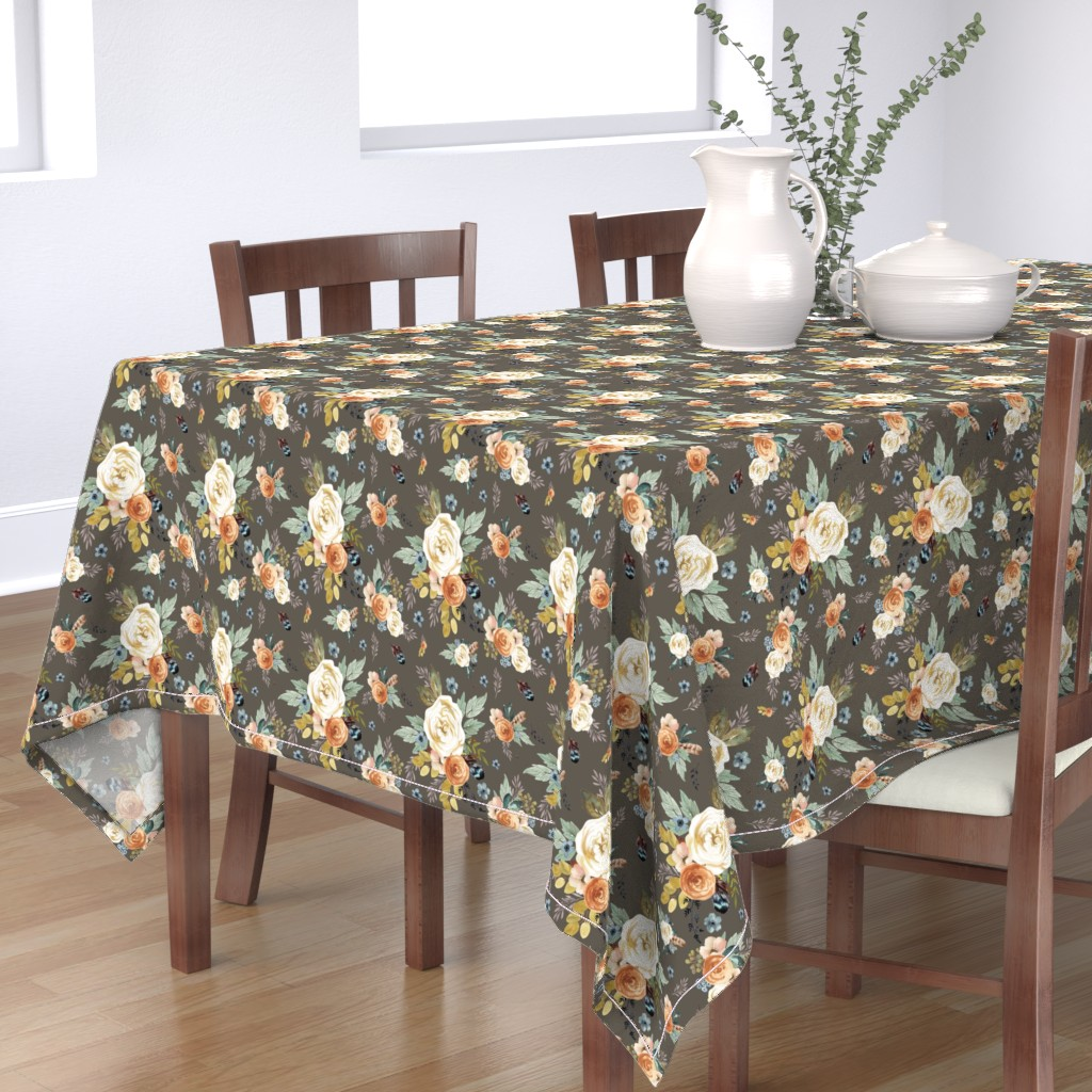 """Bantam Rectangular Tablecloth featuring 8"""" Western Autumn / More Florals / Taupe by shopcabin"""