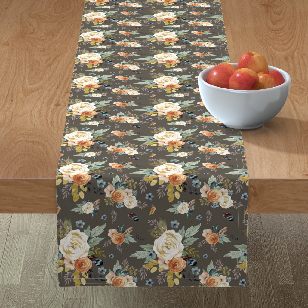 "Minorca Table Runner featuring 8"" Western Autumn / More Florals / Taupe by shopcabin"