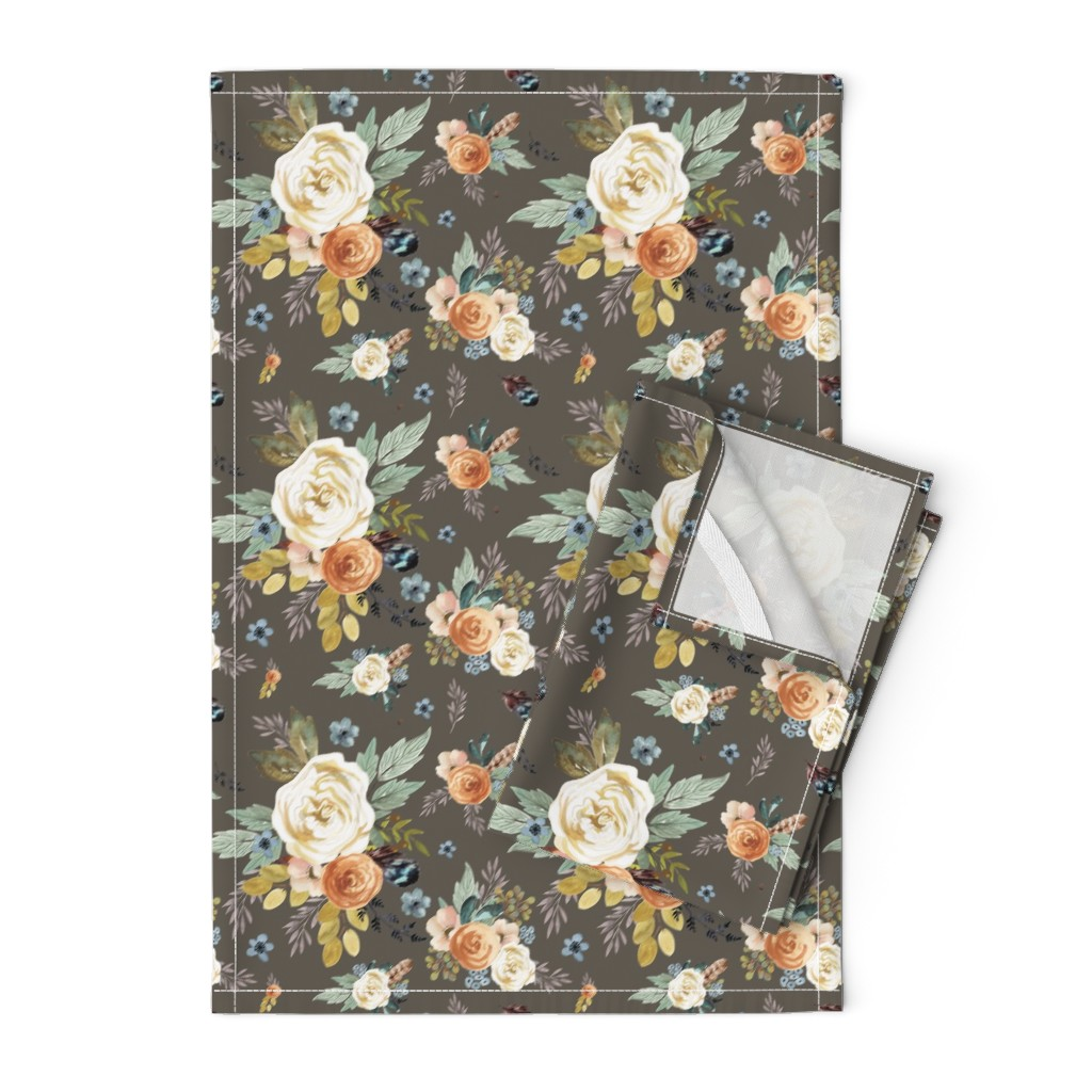 """Orpington Tea Towels featuring 8"""" Western Autumn / More Florals / Taupe by shopcabin"""