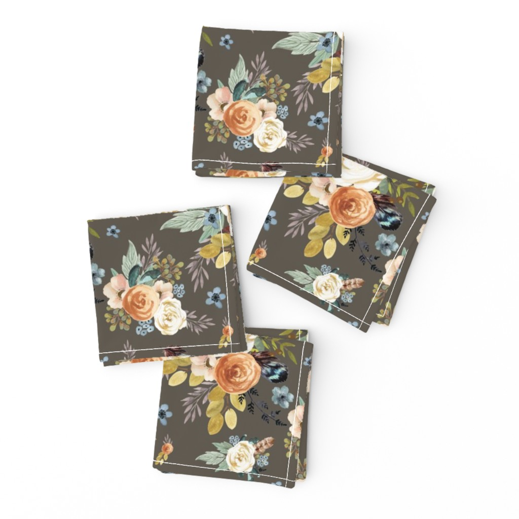 """Frizzle Cocktail Napkins featuring 8"""" Western Autumn / More Florals / Taupe by shopcabin"""