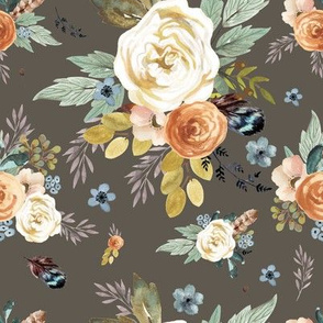 """8"""" Western Autumn / More Florals / Taupe"""