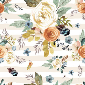"""18"""" Western Autumn / More Florals / Ivory Stripes"""