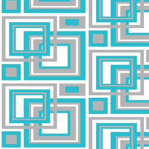 Abstract Turquoise Blue Gray Grey Square Geometric Pattern