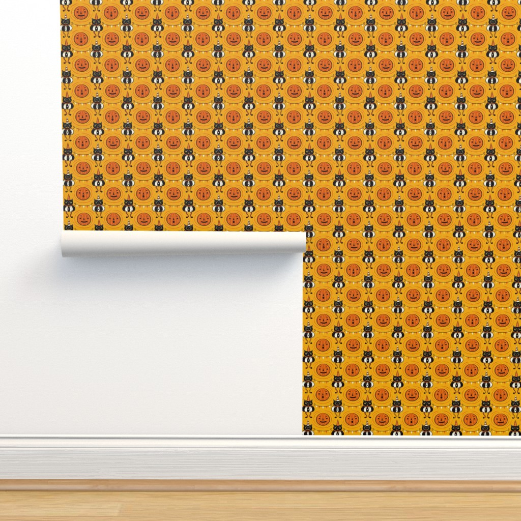 Isobar Durable Wallpaper featuring Halloween Cats and Pennants by johannaparkerdesign