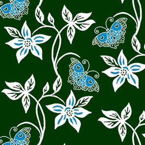 Midnight Garden - Blue Butterflies & Flowers Virtual Batik
