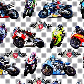 Motorbikes Grey Checkered Motogp