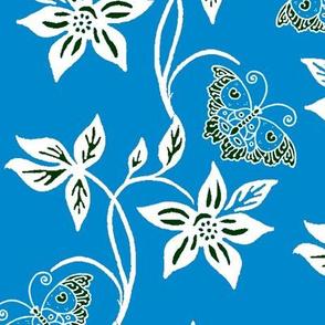 Blue Butterflies & Flowers Virtual Batik_bright blue
