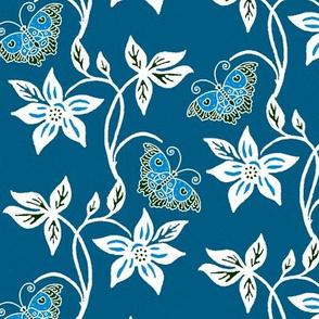 Blue Butterflies & Flowers Virtual Batik_ medblue_texture
