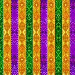Mardi Gras Green Purple Golden-Yellow Stripes