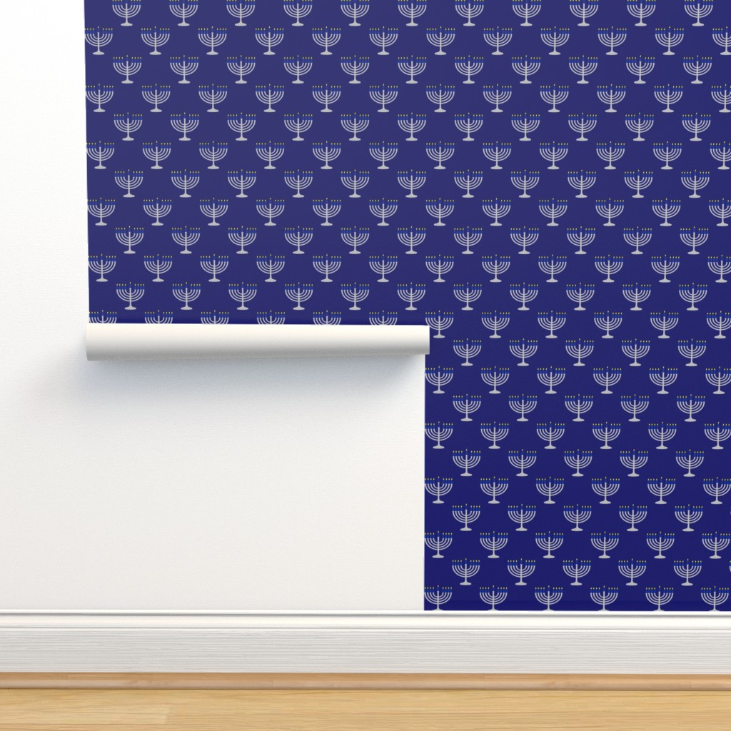 Isobar Durable Wallpaper featuring Two Inch Blue and Matte Silver Menorah on Midnight- Larger Scale by mtothefifthpower