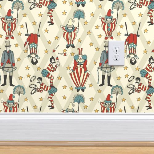 Wallpaper Vintage Circus Performers Neutral