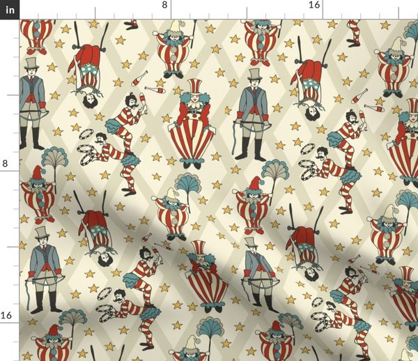 Fabric By The Yard Vintage Circus Performers Neutral
