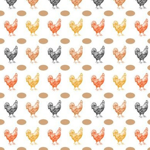 Chickens with Eggs, Chicken Coop, Barnyard Animals, Yellow, Orange, Rust, Black and Red Hens