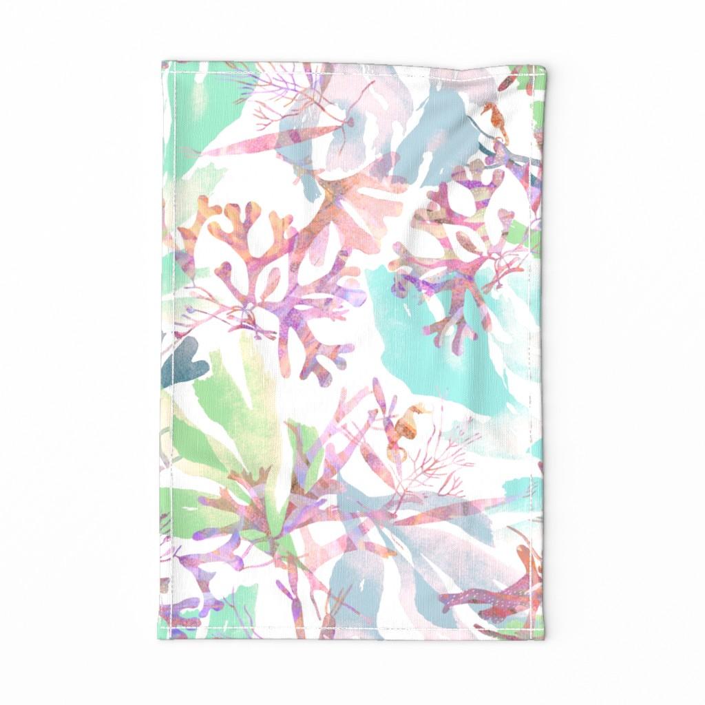 Special Edition Spoonflower Tea Towel featuring Fiji Hibiscus Tea Towel Faded Teal by kadyson