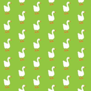 Little White Goose Graphic on Lime Background with Orange Bill and Feet