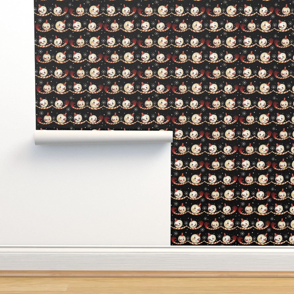 Isobar Durable Wallpaper featuring Snowmen_with_Scarves by johannaparkerdesign