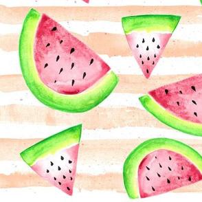 Watermelon Pieces Watercolor on Peach Stripes