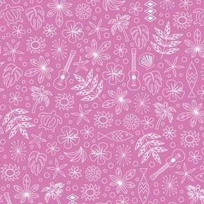 Keiki* (Pink Liza) || ditsy Hawaii Hawaiian honu sea turtle tiki sun symbols tribal leaves flowers hibiscus plumeria bananas tropical palm tree bubbles fish ocean beach ukulele pastel
