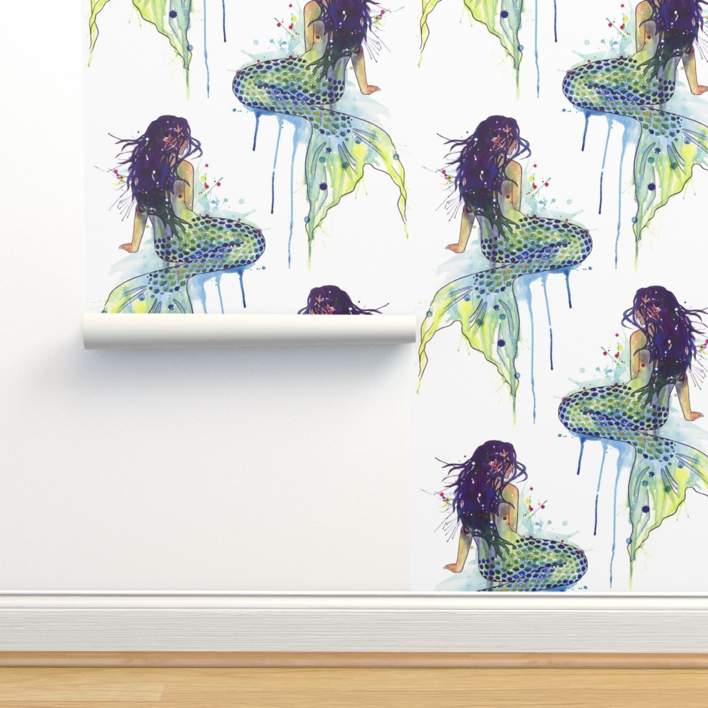 Isobar Durable Wallpaper featuring Mermaid - watercolor by sam_nagel