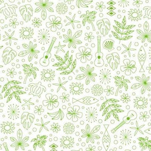 Keiki* (Grass on White) || ditsy Hawaii Hawaiian honu sea turtle tiki sun symbols tribal leaves flowers hibiscus plumeria bananas tropical palm tree bubbles fish ocean beach ukulele