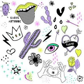 "8"" Kanye Attitude Drake Feelings - Lilac Neon Green"