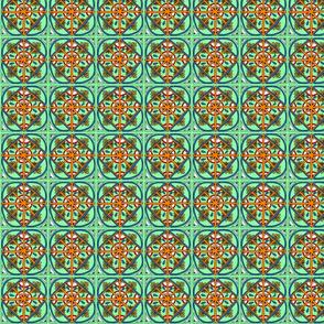 Sea Foam Green Kaleidoscope  Squares - Small