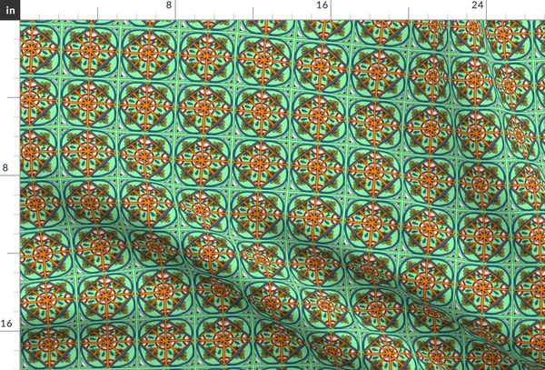 Sea Foam Green Kaleidoscope Squares S