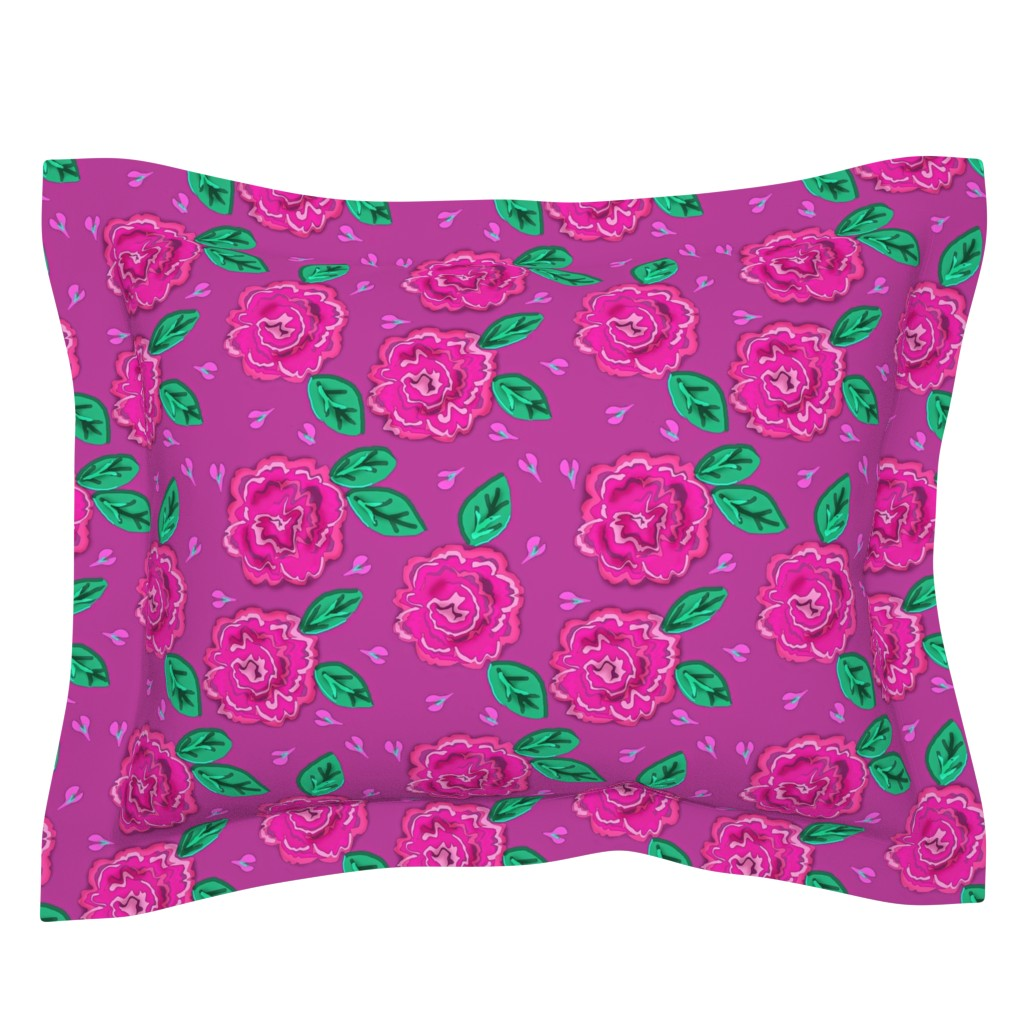 Sebright Pillow Sham featuring The Magenta Rose med. by franbail