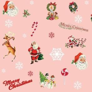 Vintage Christmas Santa Claus Reindeer