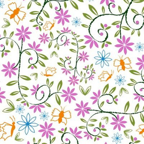 Floral butterfly print