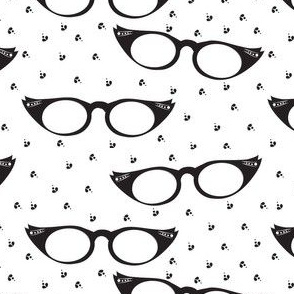 Black and White Cat Eyes Fabric - Movie Star Black And White By Applebutterpattycake - Cotton Fabric By The Yard With Spoonflower