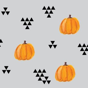 Modern Pumpkins and Triangles on Gray
